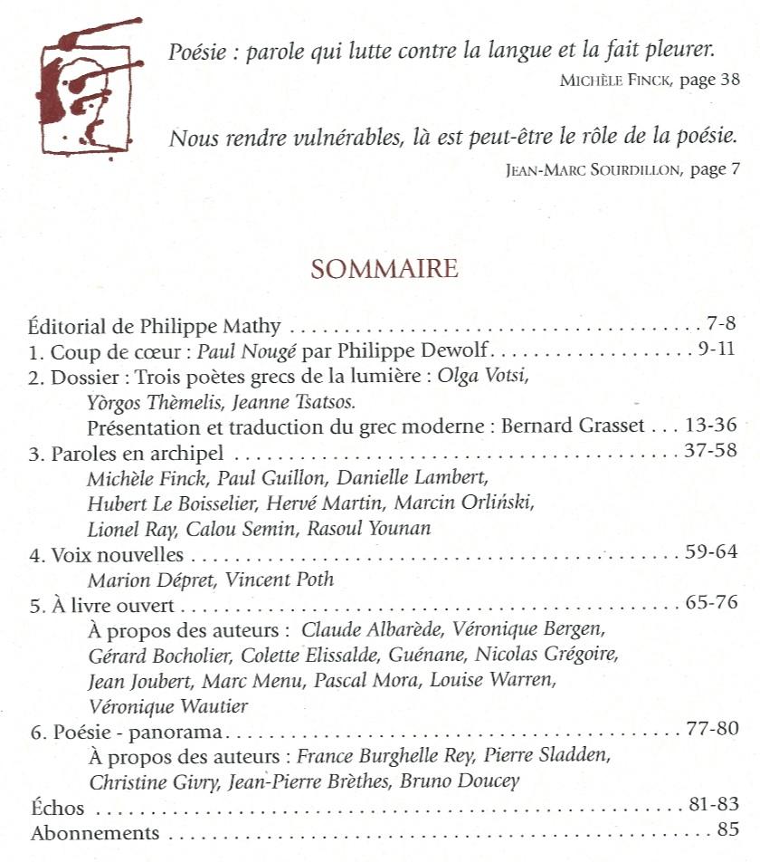 Sommaire du Journal des Poètes numéro 2 année 2017