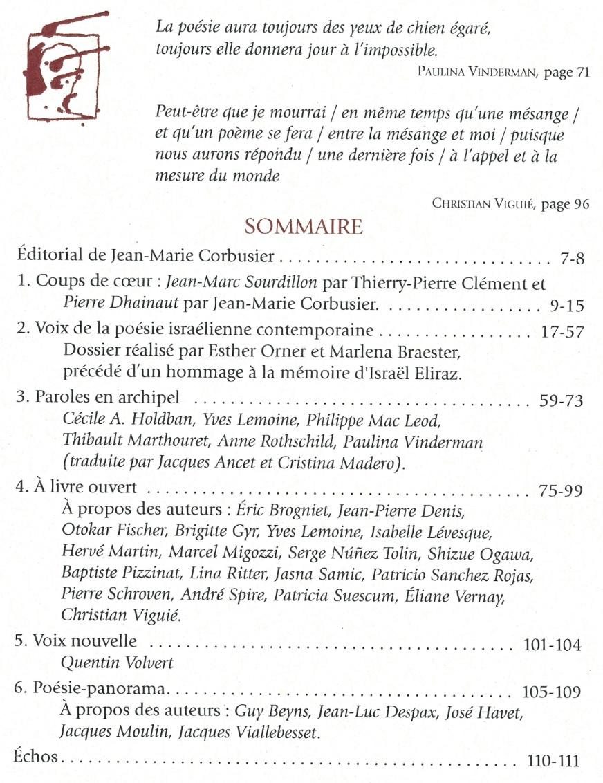Sommaire du Journal des Poètes numéro 4 année 2017